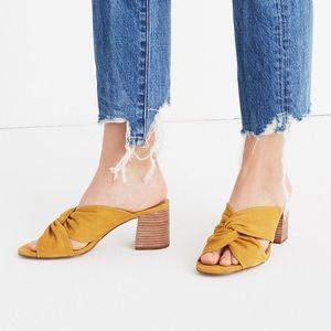 Madewell Sari Crisscross Mustard Block Heel Sandal